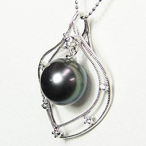 真珠 パール ペンダント タヒチ黒蝶真珠 PT900 プラチナ 真珠の直径10mm グリーン系 ダイヤモンド 8石 0.08ct ペンダントトップ