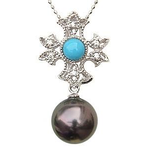 真珠 パール 黒真珠 ネックレス ペンダント K18WG ホワイトゴールド 真珠 径10mm グリーン系 トルコ石 ダイヤモンド 6石 0.06ct ペンダント