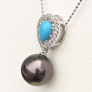 黒真珠 ペンダント 真珠 パール PT900 プラチナ 真珠の径10mm グリーン系 トルコ石 ダイヤモンド