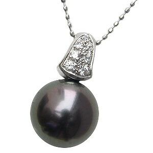 ネックレスペンダント 黒真珠パール ホワイトゴールド ネックレス ダイヤモンド