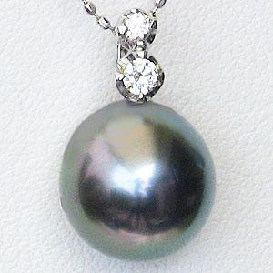 ネックレス PT900プラチナ 黒真珠 パール ペンダント ダイヤモンド
