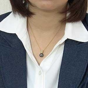 パールペンダントトップ 真珠 パール タヒチ黒蝶真珠 グリーン系 径10mm ダイヤモンド 1石 計0.02ct K18 ゴールド ペンダント