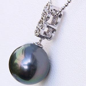真珠:パール:ペンダントトップ:タヒチ黒蝶真珠:11mm:ホワイトゴールド:K18WG