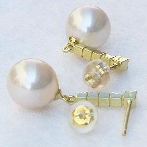 真珠:パール:ピアス:あこや本真珠:8.5mm:ピンクホワイト系:K18:ゴールド:ダイヤモンド:0.18ct