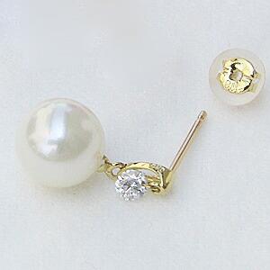 ピアス パール あこや真珠パール K18ゴールド 片耳ピアス ダイヤモンド パーティー