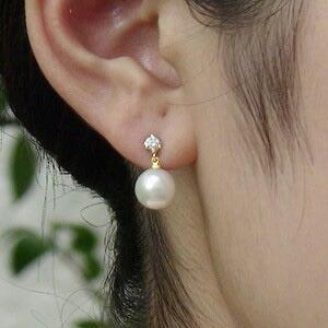 真珠 パール ピアス あこや本真珠 アコヤ真珠 8.5mm ダイヤモンド 4月誕生石 K18 ゴールド