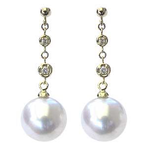 真珠:パール:ピアス:南洋白蝶真珠:直径10mm:ホワイトピンク系:ダイヤモンド:4石:合計0.06ct:K18:ゴールド:チェーンピアス