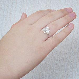真珠:パール:リング:あこや本真珠:ピンクホワイト系:6mm:K18WG:ホワイトゴールド:ダイヤモンド:0.13ct:指輪