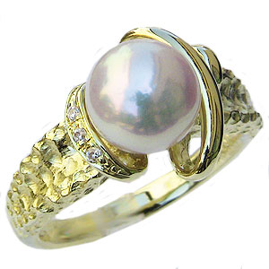 真珠:パール:リング:あこや本真珠:ピンクホワイト系:7mm