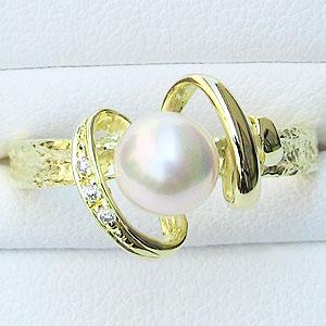 真珠:パール:リング:あこや本真珠:ピンクホワイト系:6-6.5mm:K18:ゴールド:ダイヤモンド:0.02ct:指輪
