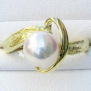真珠:パール:リング:あこや本真珠:ピンクホワイト系:7mm:K18:ゴールド:ダイヤモンド:0.02ct:指輪