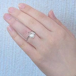 真珠:パール:リング:あこや本真珠:ピンクホワイト系:8mm:PT900:プラチナ:ダイヤモンド:0.04ct:指輪