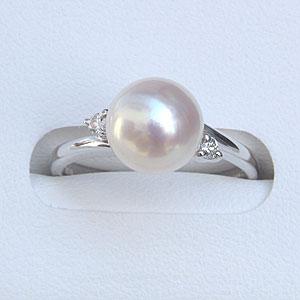 6月誕生石 リング パール 指輪 あこや真珠パール ホワイトゴールド ダイヤモンド