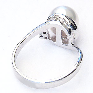 真珠パール リング あこや本真珠 指輪 径8mm ダイヤモンド K10WG ホワイトゴールド 指輪 6月誕生石