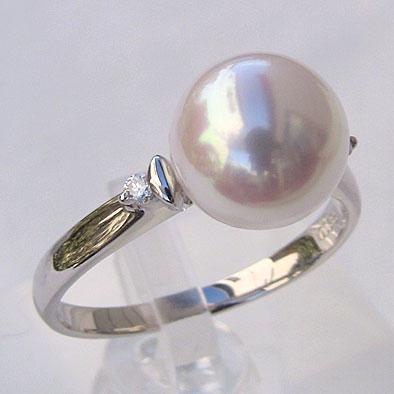 あこや本真珠:リング:ピンクホワイト系:9mm