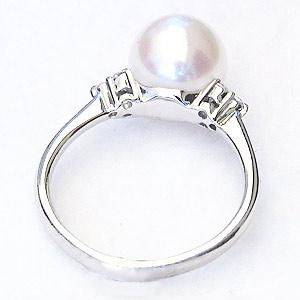 真珠:パール:リング:あこや本真珠:指輪:ピンクホワイト系:8.5mm:ホワイトゴールド:K18WG:18金:冠婚葬祭
