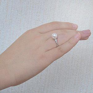 花珠真珠 パールリング 真珠指輪 花珠あこや真珠 大珠9mm 純プラチナ PT999 ダイヤモンド