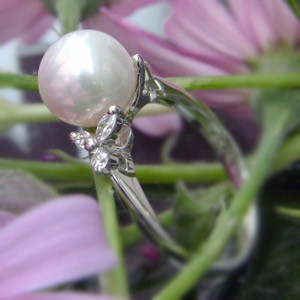 リング パール 指輪 あこや真珠パール K10WG ホワイトゴールド リング ダイヤモンド ジュエリー