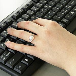 真珠:指輪:パール:リング:あこや本真珠:9mm:ピンクホワイト系:ダイヤモンド:0.27ct:プラチナ:PT900