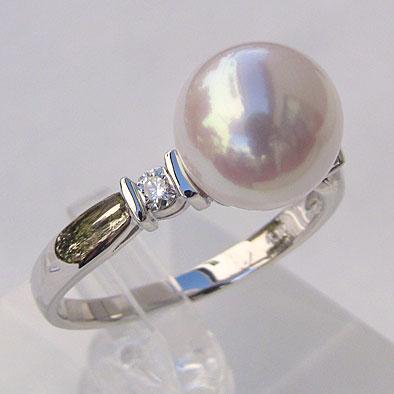あこや本真珠リング:ピンクホワイト系:9mm