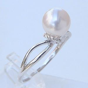 リング パール 指輪 あこや真珠パールリング K10ホワイトゴールド ジュエリー