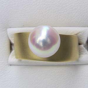 あこや本真珠:K18:リング:9mm:ピンクホワイト系:ラウンド