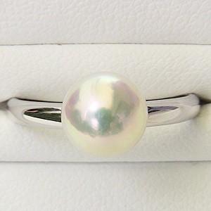 あこや本真珠:リング:ピンクホワイト系:7mm