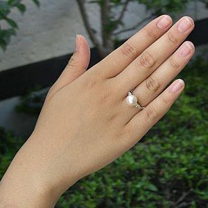 あこや本真珠:ダイヤモンド:リング:K18WG:ホワイトゴールド