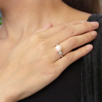 あこや本真珠:リング:ダイヤモンド:0.17ct:パール:ピンクホワイト系:9mm:プラチナ:PT900:指輪(アコヤ本真珠)