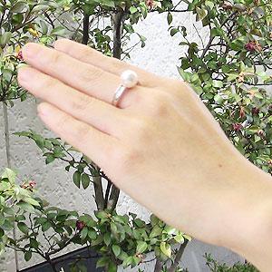 6月誕生石 リング パール 指輪 あこや真珠パールホワイトゴールドリング ダイヤモンド