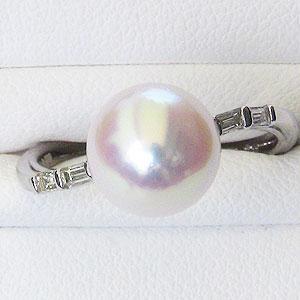 リング パール 指輪 あこや真珠パール K18WG ホワイトゴールド リング ダイヤモンド ジュエリー