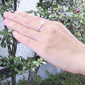 6月誕生石 リング パール 指輪 あこや真珠パールリング K18ホワイトゴールド ダイヤモンド