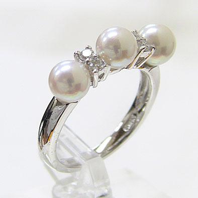 アコヤ本真珠:ダイヤモンド:パール:リング:ピンクホワイト系