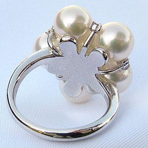 あこや本真珠リング:ホワイトピンク系:7.5mm :ダイヤモンド:K18WG:ホワイトゴールド
