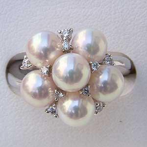 リング パール 指輪 あこや真珠パールリングホワイトゴールドダイヤモンド ジュエリー
