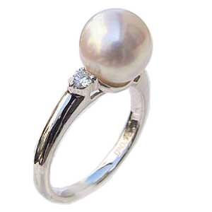 ブライダル リング パール 指輪 あこや真珠パール PT900プラチナリング ダイヤモンド