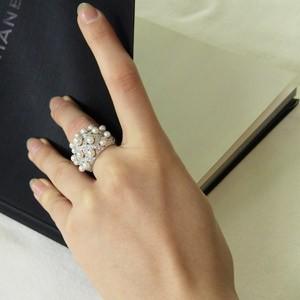 あこや本真珠:リングベビーパール:ピンクホワイト系:ダイヤモンド