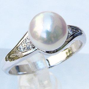 真珠:パール:リング:あこや本真珠:ピンクホワイト系:7mm:PT900:プラチナ:ダイヤモンド:0.04ct:指輪