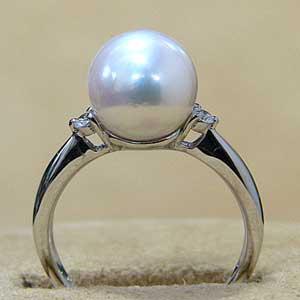 パール:リング:真珠:指輪:あこや本真珠:ピンクホワイト系:8.5mm:アコヤ:ダイヤモンド:0.07ct:K18WG:ホワイトゴールド