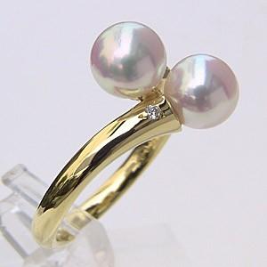 アコヤ本真珠:リング:ダイヤモンド:ベビーパール:ピンク系