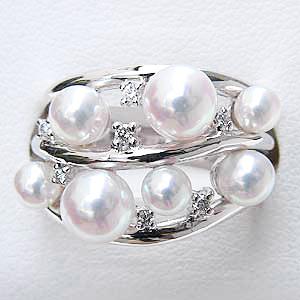 あこや本真珠:K18WG:ホワイトゴールド:リング:パール:ピンクホワイト系