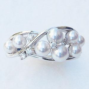 真珠:パール:指輪:リング:あこや本真珠:3mm:4mm:ピンクホワイト系:ダイヤモンド:0.12ct:ホワイトゴールド:K18WG:18金