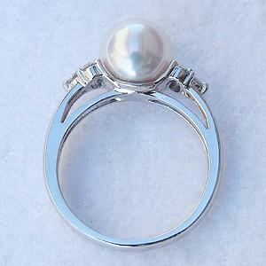 パール:真珠:ホワイトパール:あこや本真珠:アコヤ本真珠:あこや:アコヤ:ピンクホワイト系:直径8.5mm:ダイヤモンド:ダイヤ:ダイアモンド:ダイア:Pt900:プラチナ:リング:指輪