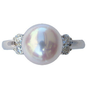 パール:真珠:ホワイトパール:あこや本真珠:アコヤ本真珠:あこや:アコヤ:ピンクホワイト系:直径9mm:ダイヤモンド:ダイヤ:ダイアモンド:ダイア:Pt900:プラチナ:リング:指輪