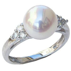 6月誕生石 リング パール 指輪 あこや真珠パール ホワイトゴールド リング ダイヤモンド