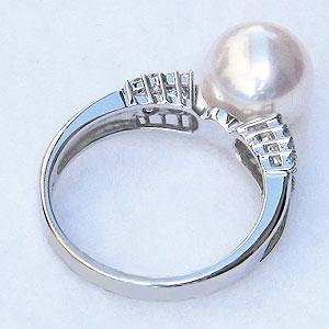 パール 指輪 あこや真珠パール K18WG ホワイトゴールド リング ダイヤモンド ジュエリー