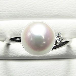 ブライダル リング パール 指輪 あこや真珠パール ホワイトゴールド ダイヤモンド