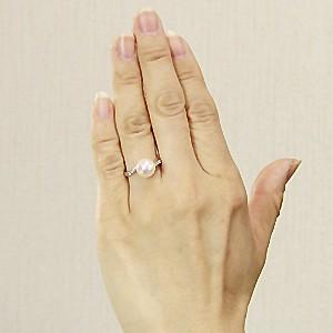花珠真珠 パールリング 真珠指輪 花珠あこや本真珠 パール PT900 プラチナ ダイヤモンド 0.10ct