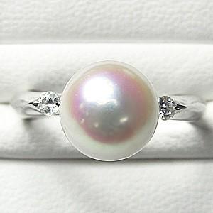 花珠 パールリング 花珠真珠 指輪 あこや本真珠 9mm 純プラチナ PT999 ダイヤモンド 0.10ct
