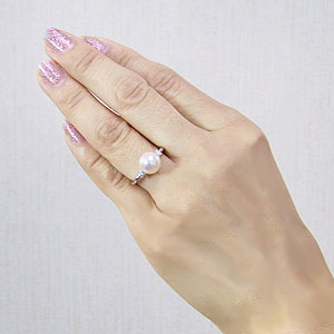 リング パール 指輪 あこや真珠パールリングホワイトゴールド ダイヤモンド ジュエリー